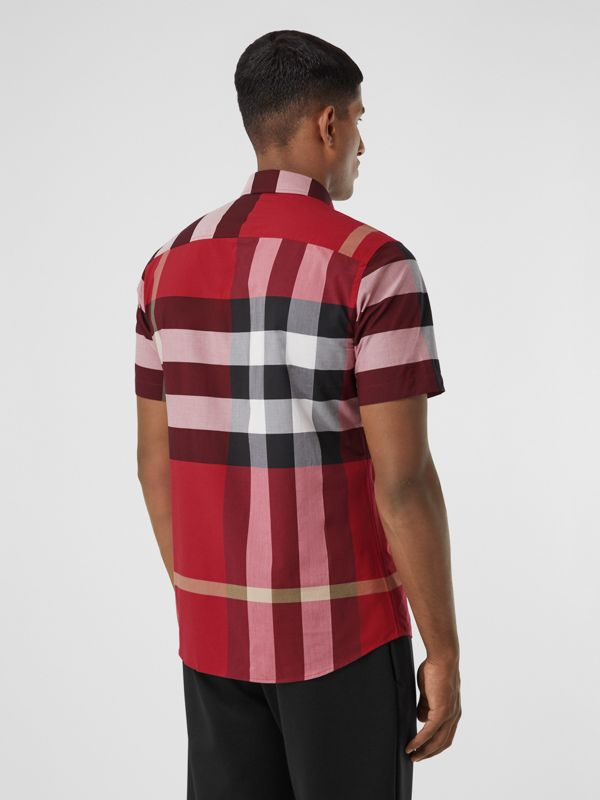 Short-sleeve Check Stretch Cotton Poplin Shirt in Parade Red - Men | Burberry - cell image 2