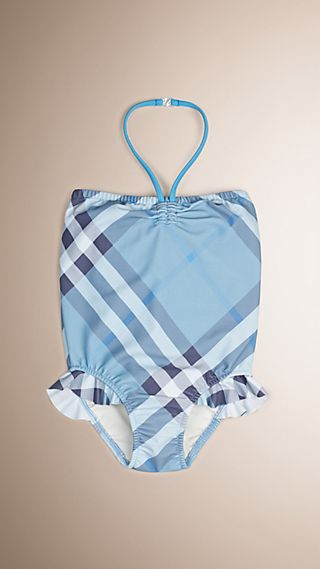 Check Halter-neck Swimsuit