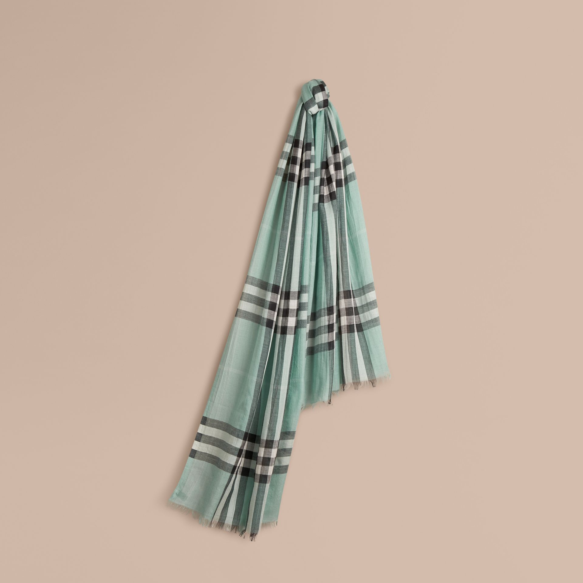 Dusty mint Lightweight Check Wool and Silk Scarf Dusty Mint - gallery image 1