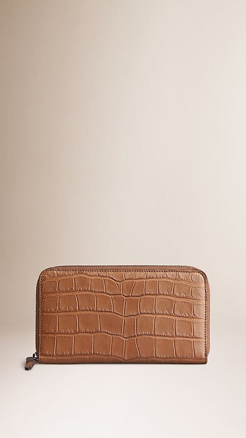 Tan Alligator Ziparound Wallet - Image 1