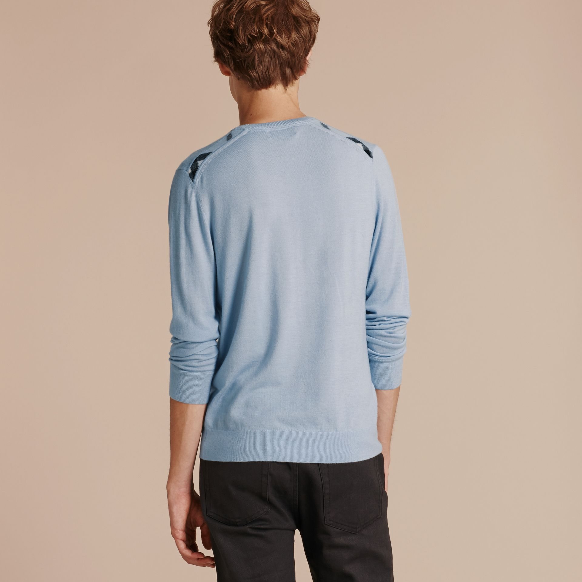 Lightweight Crew Neck Cashmere Sweater with Check Trim in Light Blue - Men | Burberry - gallery image 3