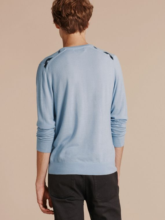 Lightweight Crew Neck Cashmere Sweater with Check Trim in Light Blue - Men | Burberry - cell image 2