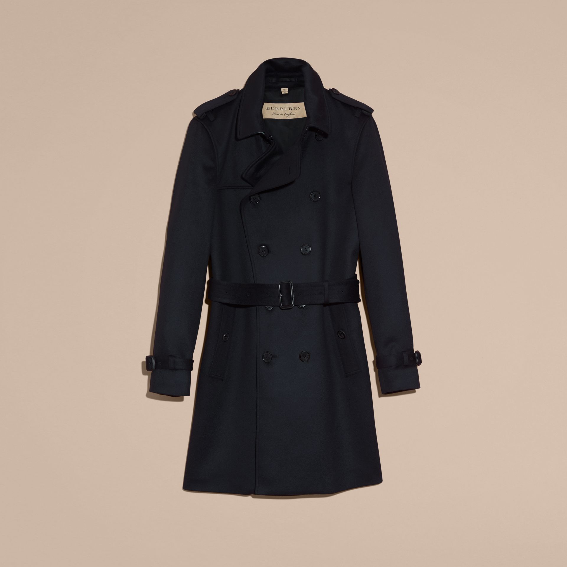 Cashmere Trench Coat Navy - gallery image 4
