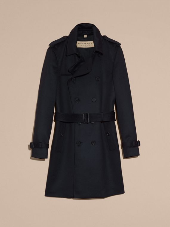 Cashmere Trench Coat Navy - cell image 3