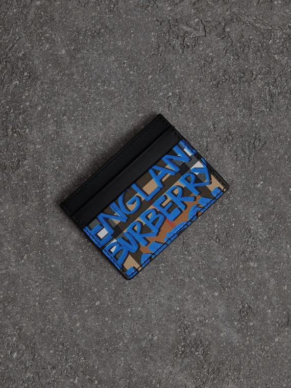 Graffiti Print Vintage Check Leather Card Case in Canvas Blue/antique Yellow