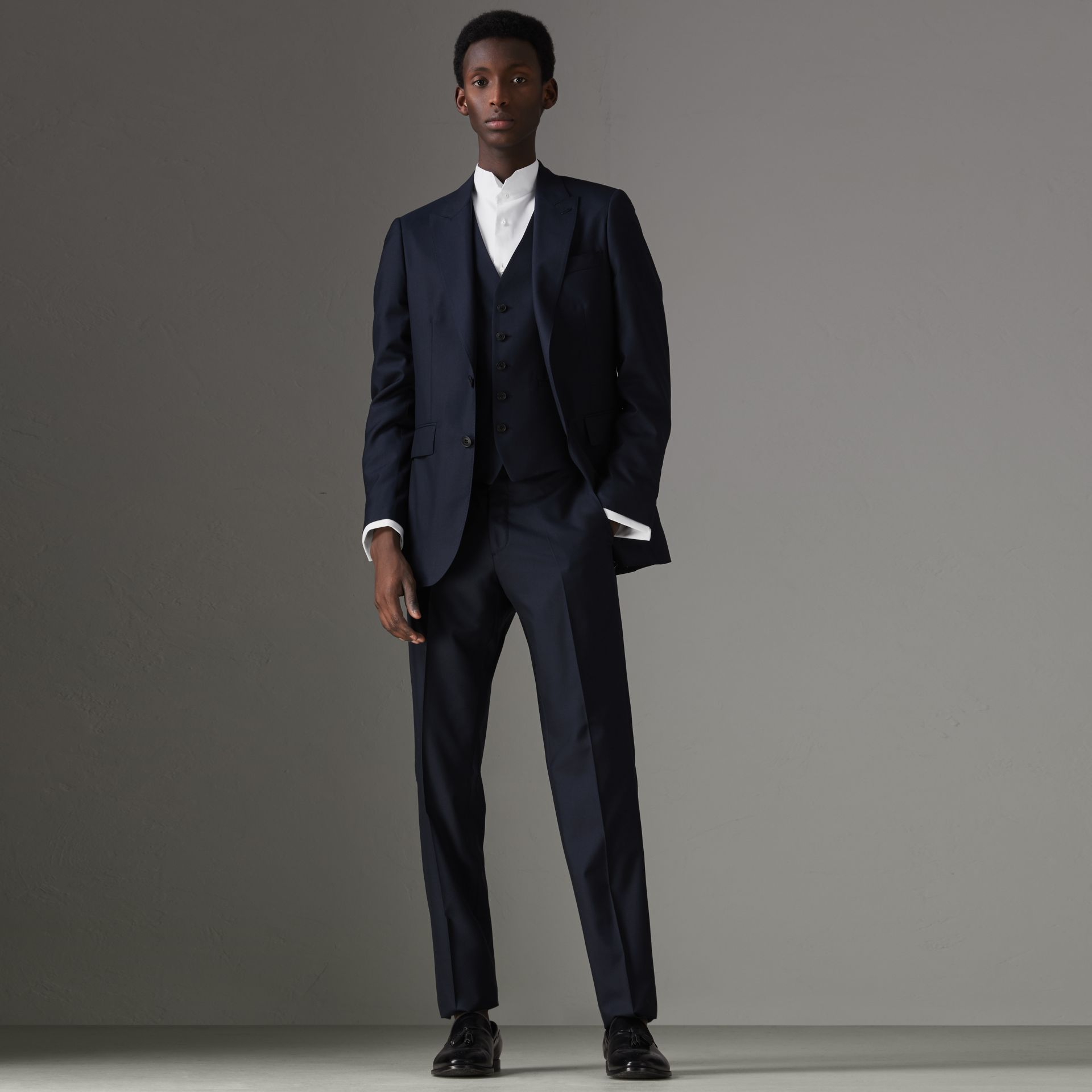 Slim Fit Wool Silk Three-piece Evening Suit in Navy - Men | Burberry - gallery image 0