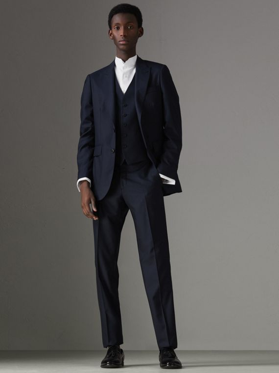 Slim Fit Wool Silk Three-piece Evening Suit in Navy