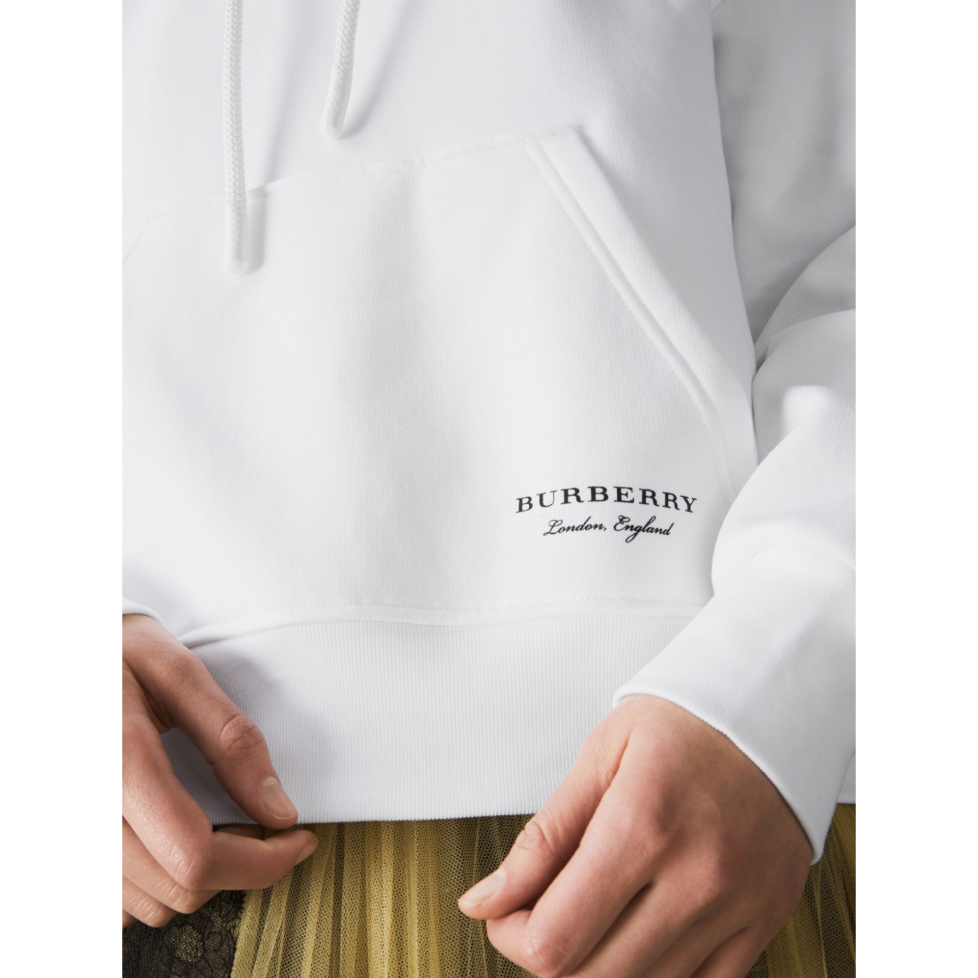 Stripe Detail Jersey Hoodie in White - Women | Burberry United States - gallery image 1