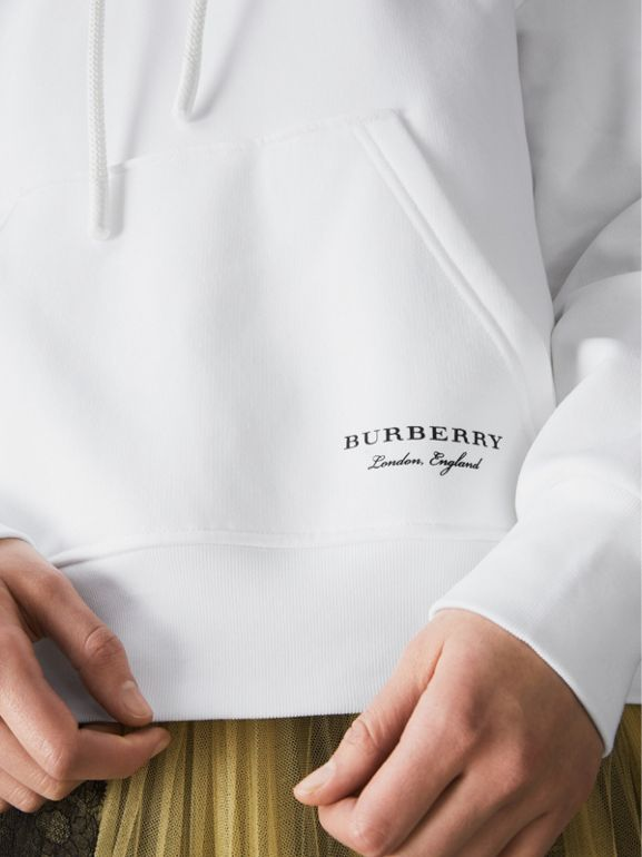 Stripe Detail Jersey Hoodie in White - Women | Burberry - cell image 1