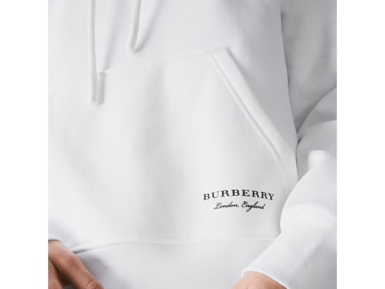Stripe Detail Jersey Hoodie in White - Women | Burberry Hong Kong - cell image 1