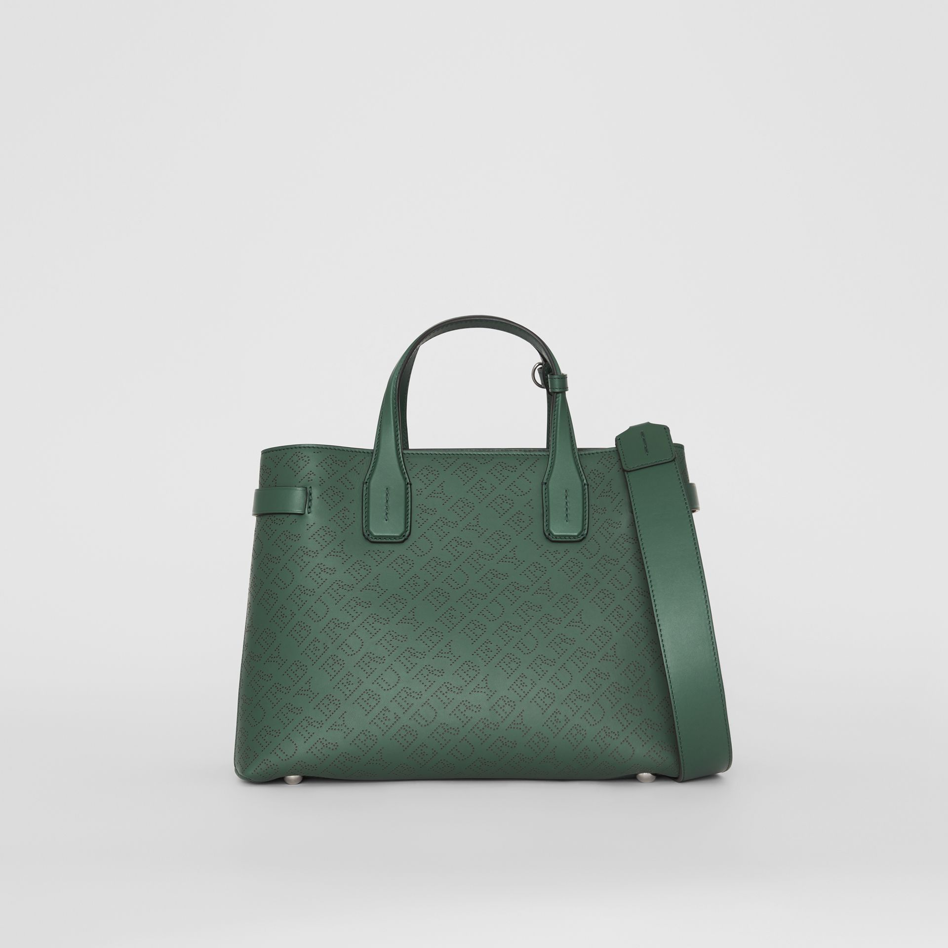 The Medium Banner in Perforated Logo Leather in Vintage Green - Women | Burberry Canada - gallery image 0