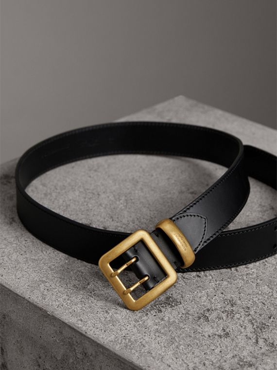 Double-pin Buckle Leather Belt in Black - Men | Burberry United States - cell image 3