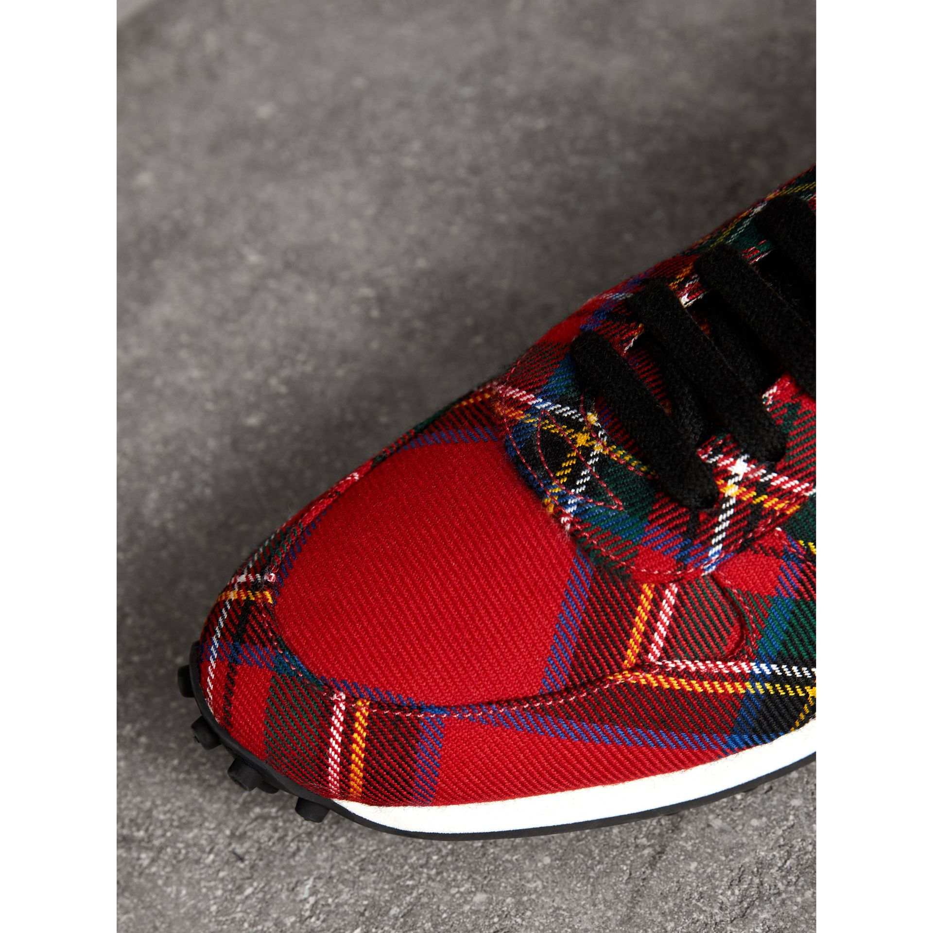 Tartan Wool Trainers in Red - Men | Burberry - gallery image 1