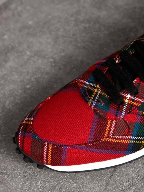 Tartan Wool Sneakers in Red - Men | Burberry United Kingdom - cell image 1