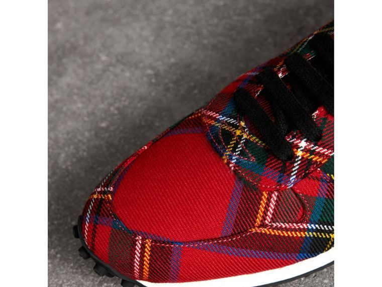 Tartan Wool Trainers in Red - Men | Burberry - cell image 1