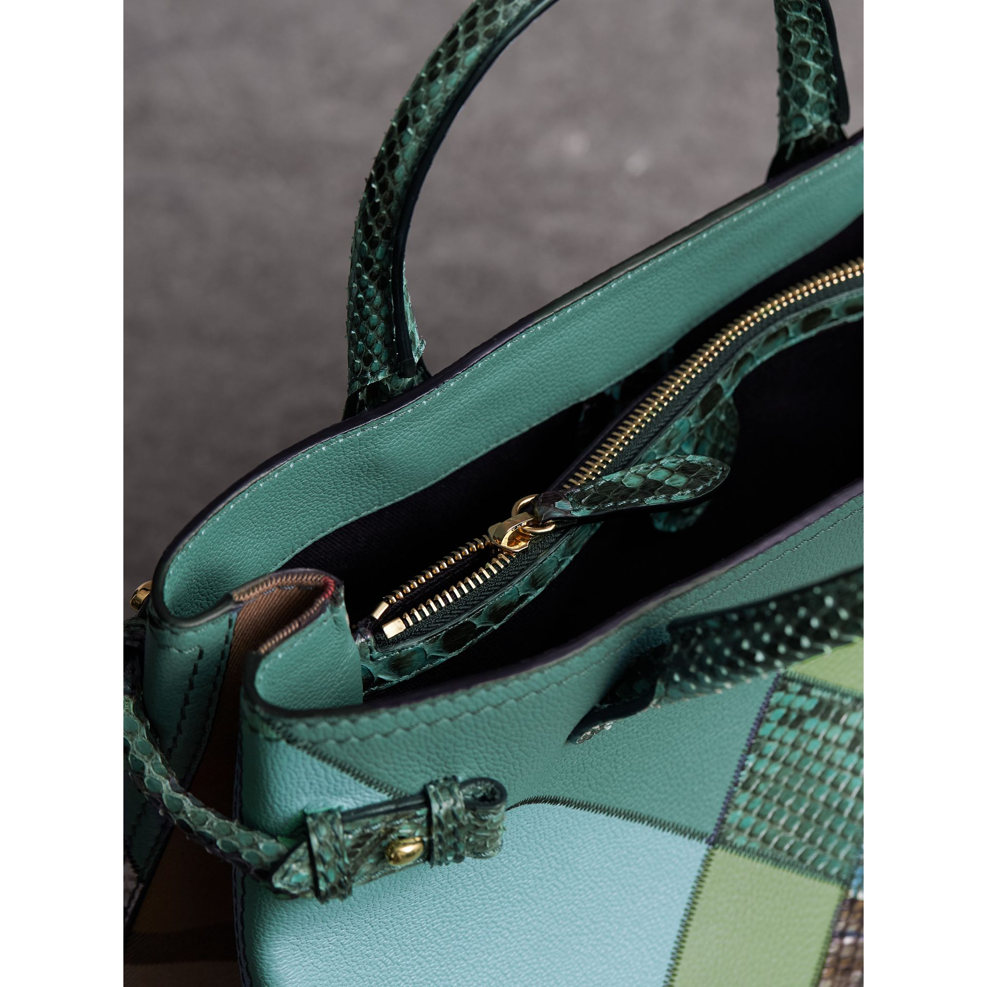 The Medium Banner in Patchwork Leather and Python in Celadon Blue - Women | Burberry - gallery image 5