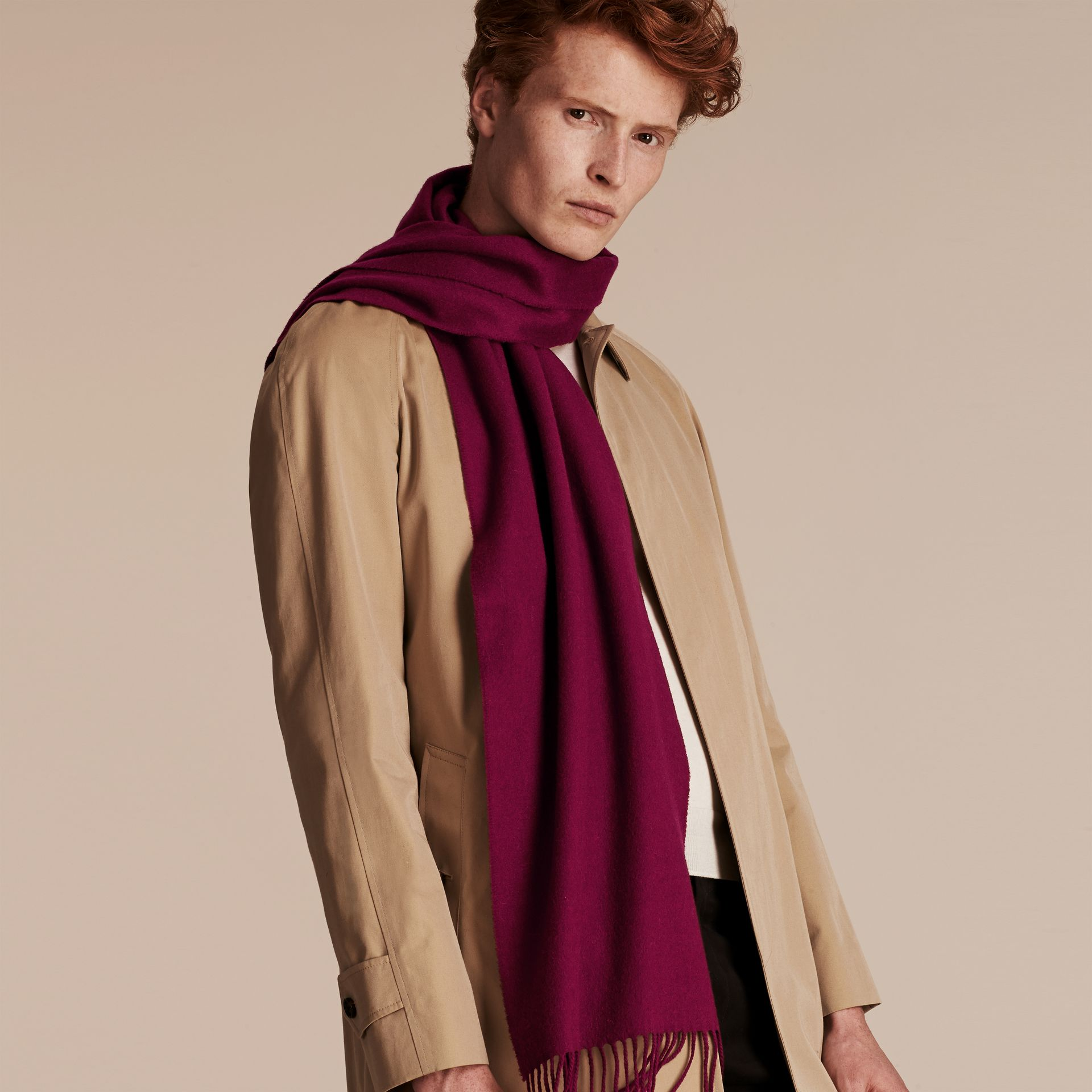 The Classic Cashmere Scarf in Plum | Burberry - gallery image 4