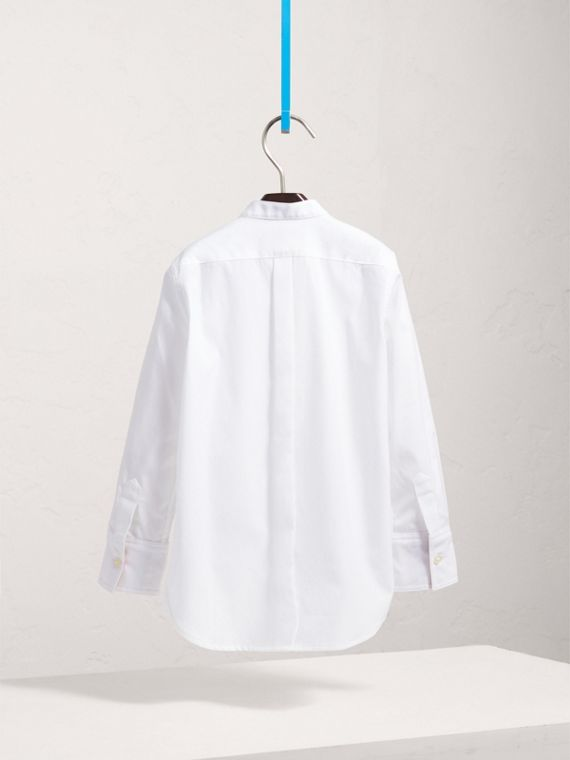 Collarless Cotton Poplin Dress Shirt in White - Boy | Burberry - cell image 3