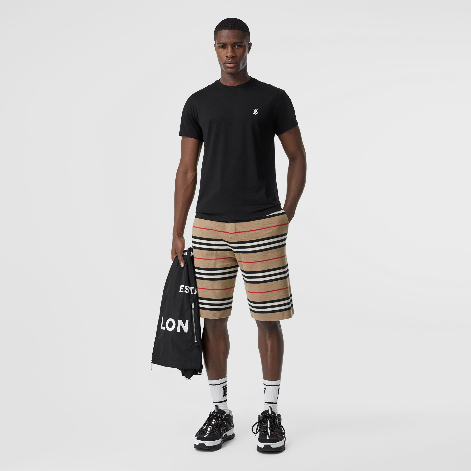 Monogram Motif Cotton T-shirt in Black - Men | Burberry - gallery image 4