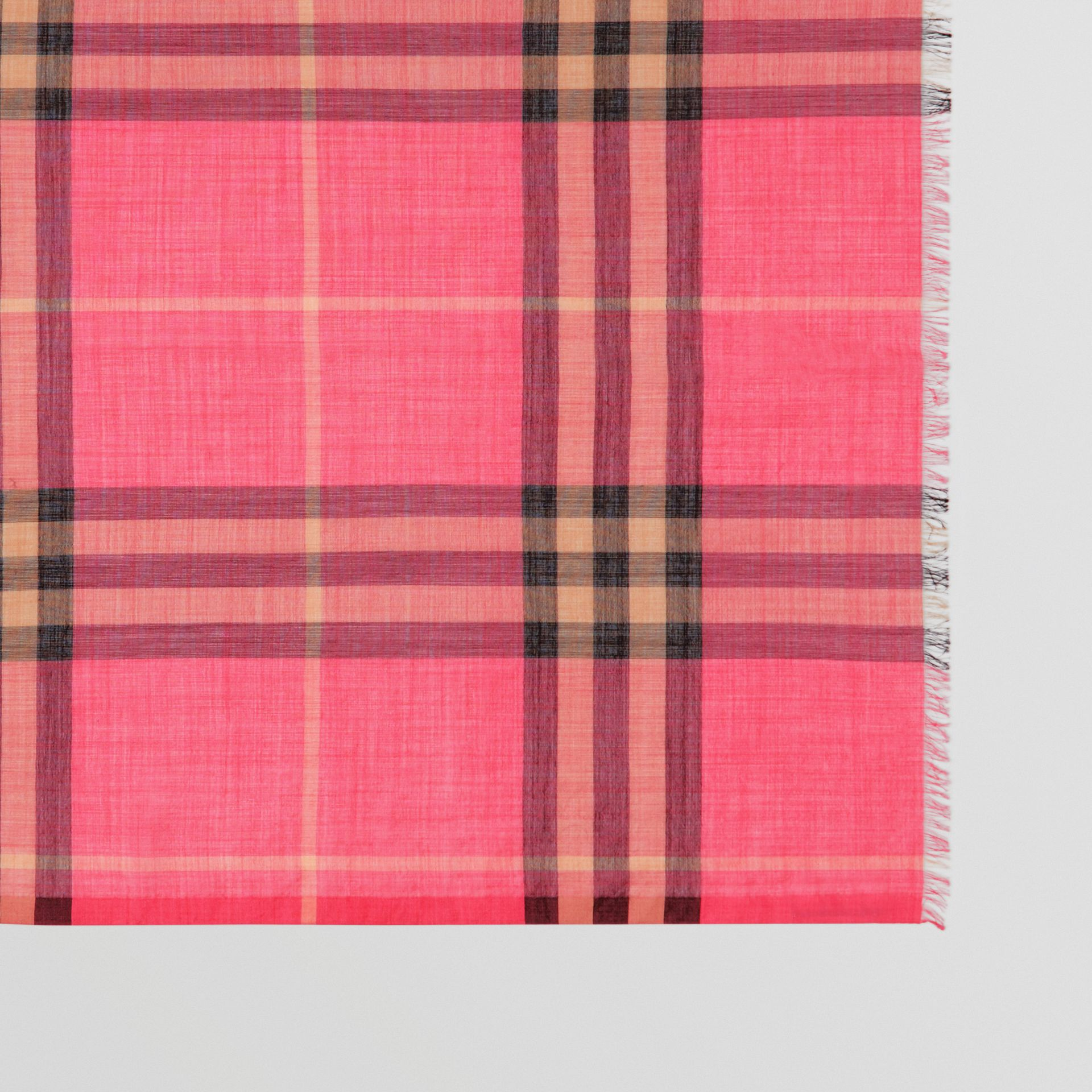 Lightweight Check Wool and Silk Scarf in Rose Pink | Burberry Australia - gallery image 1