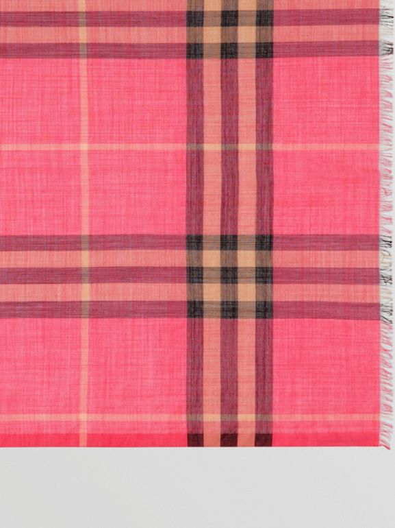 Lightweight Check Wool and Silk Scarf in Rose Pink | Burberry - cell image 1