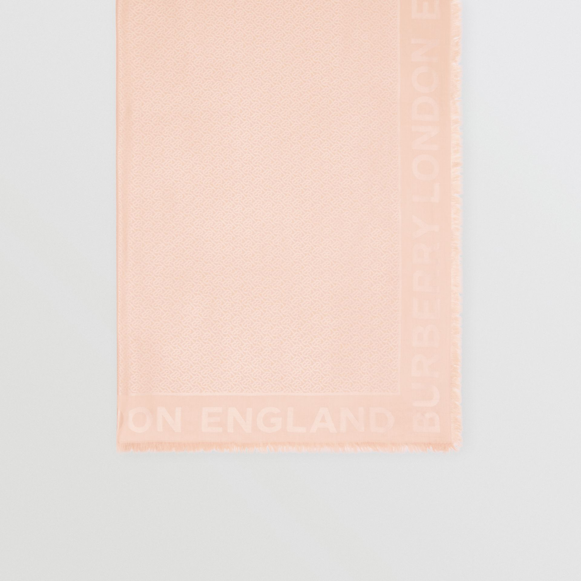 Monogram Silk Wool Jacquard Large Square Scarf in Rose Beige | Burberry United Kingdom - gallery image 2