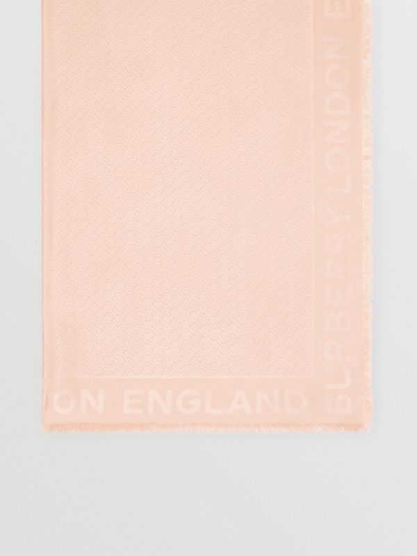 Monogram Silk Wool Jacquard Large Square Scarf in Rose Beige | Burberry United Kingdom - cell image 2