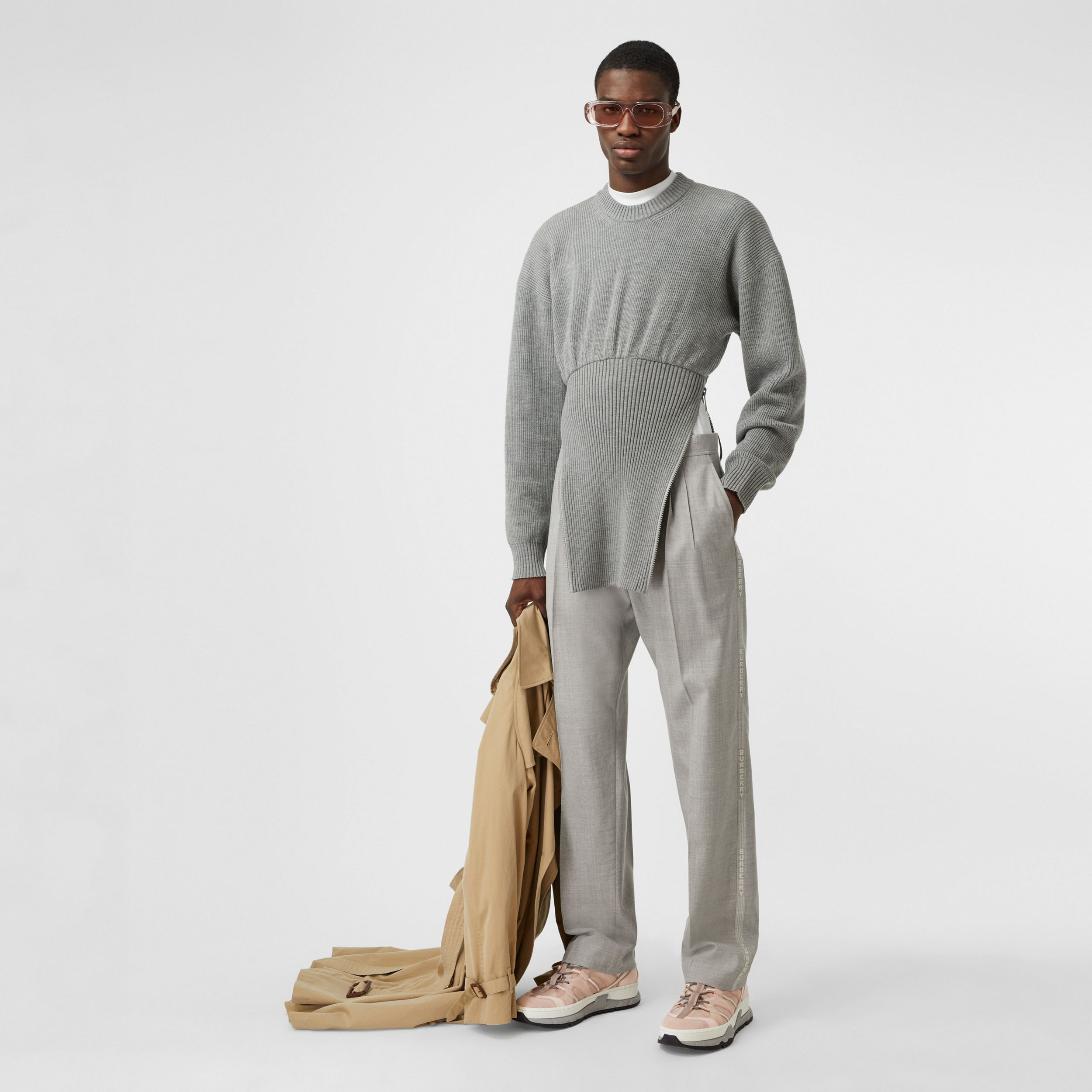 Logo Wool Jacquard Tailored Trousers in Light Pebble Grey - Men | Burberry - 1