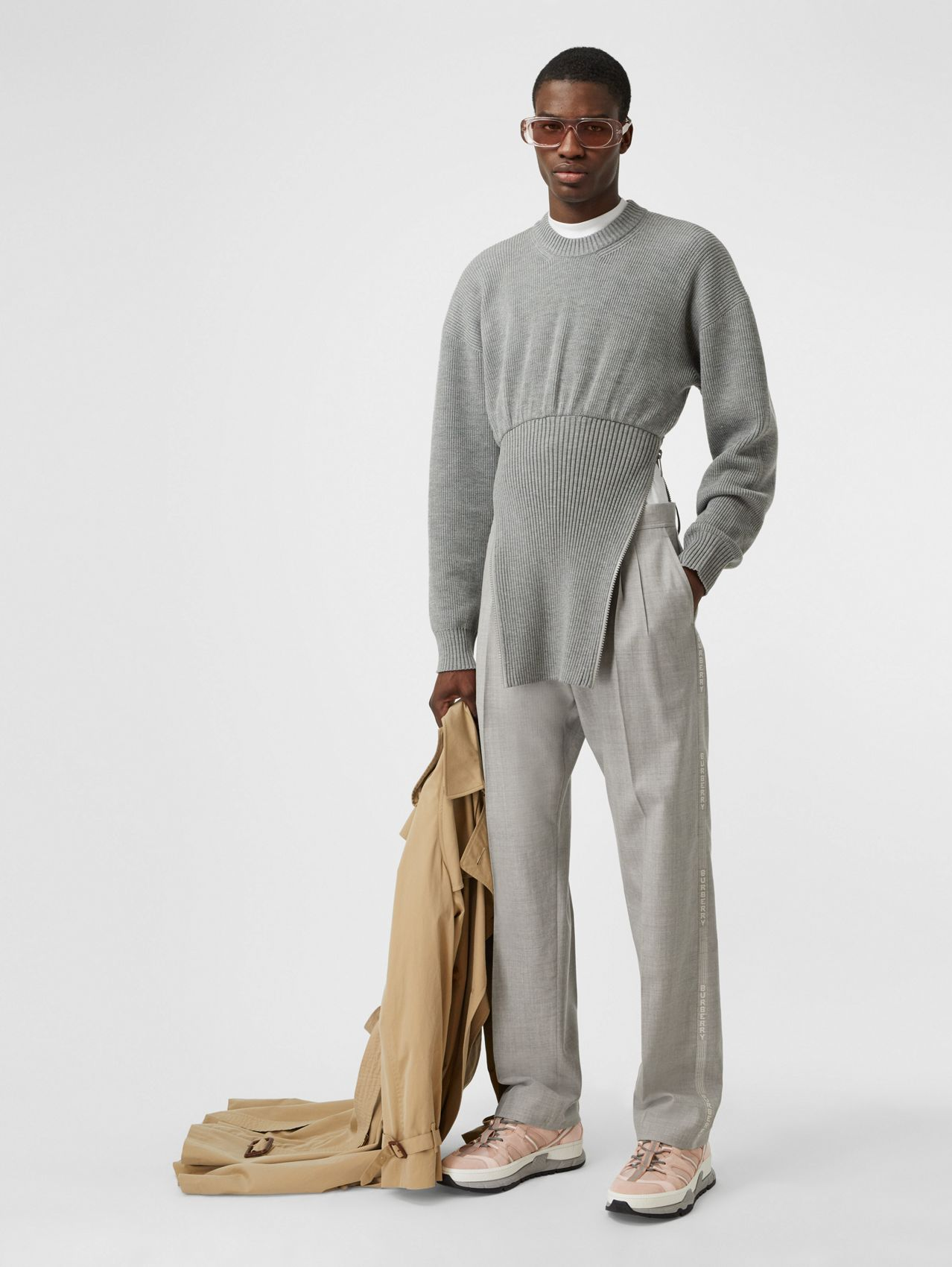 Logo Wool Jacquard Tailored Trousers in Light Pebble Grey