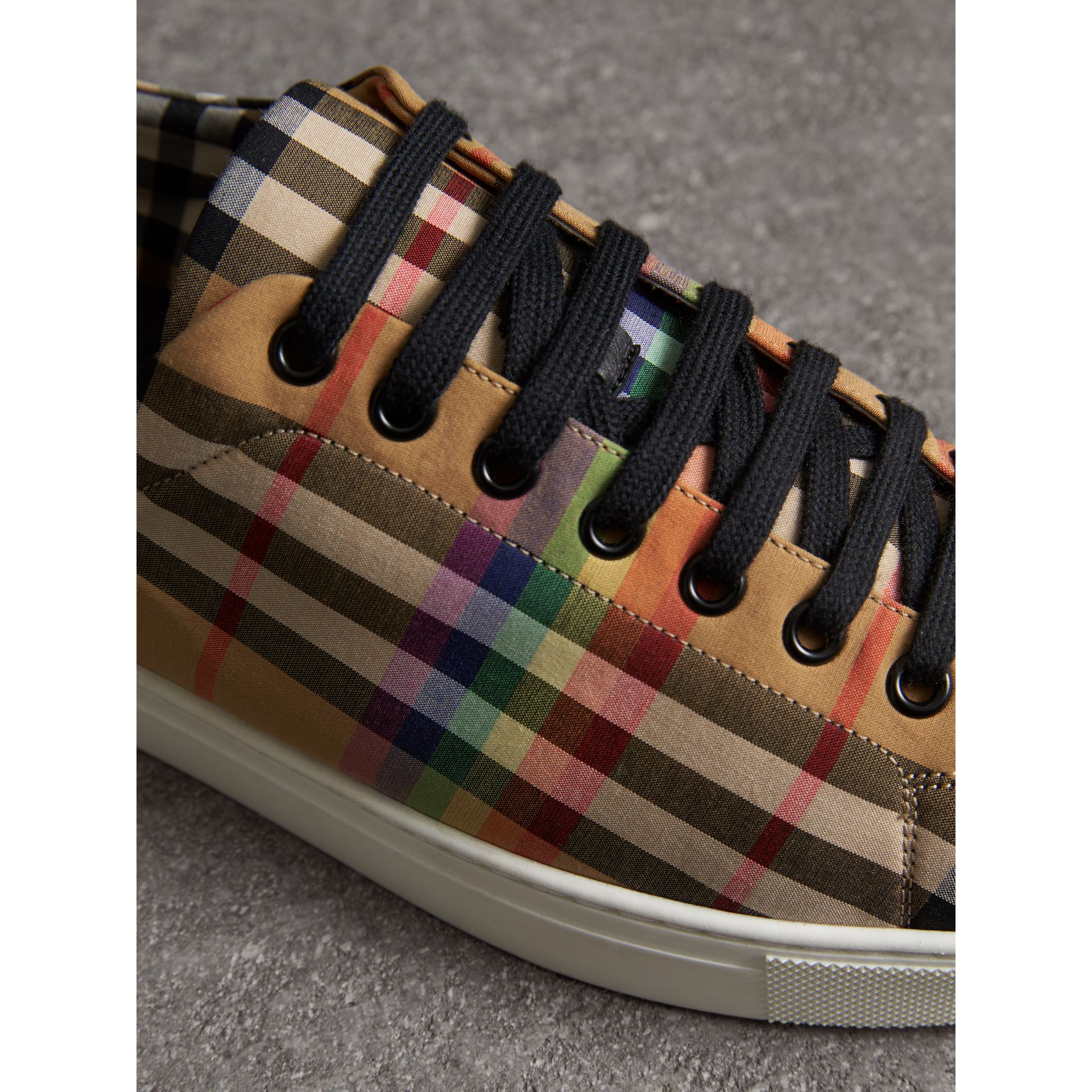 Rainbow Vintage Check Sneakers in Antique Yellow - Men | Burberry Canada - gallery image 1
