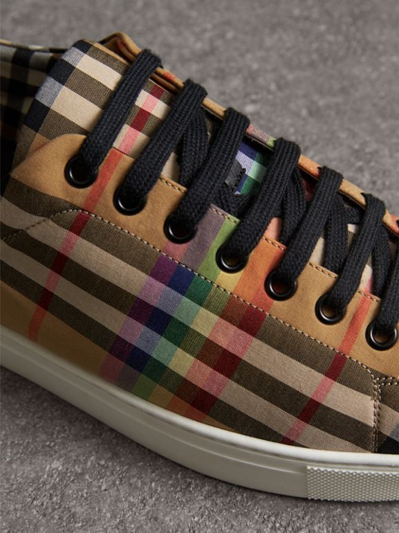 Rainbow Vintage Check Sneakers in Antique Yellow - Men | Burberry - cell image 1