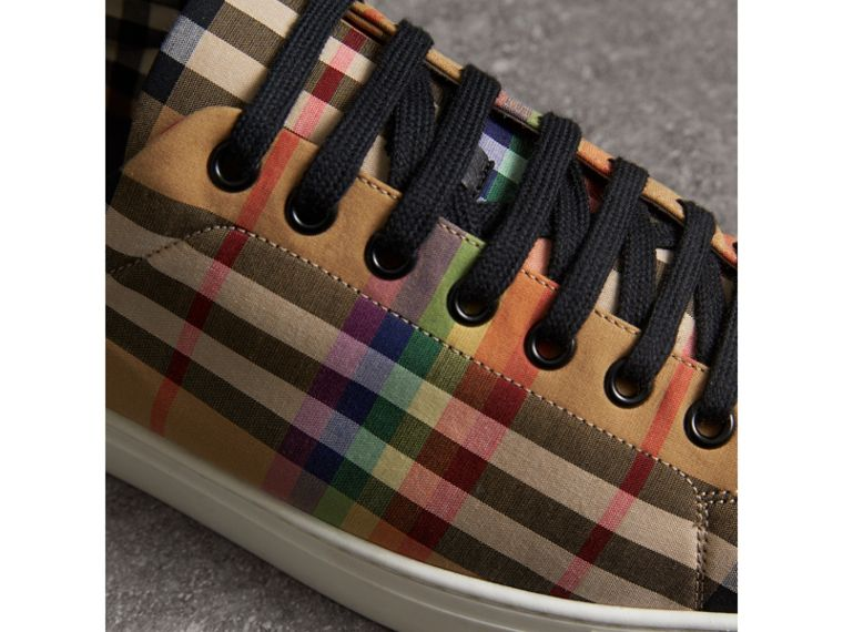 Rainbow Vintage Check Sneakers in Antique Yellow - Men | Burberry Canada - cell image 1