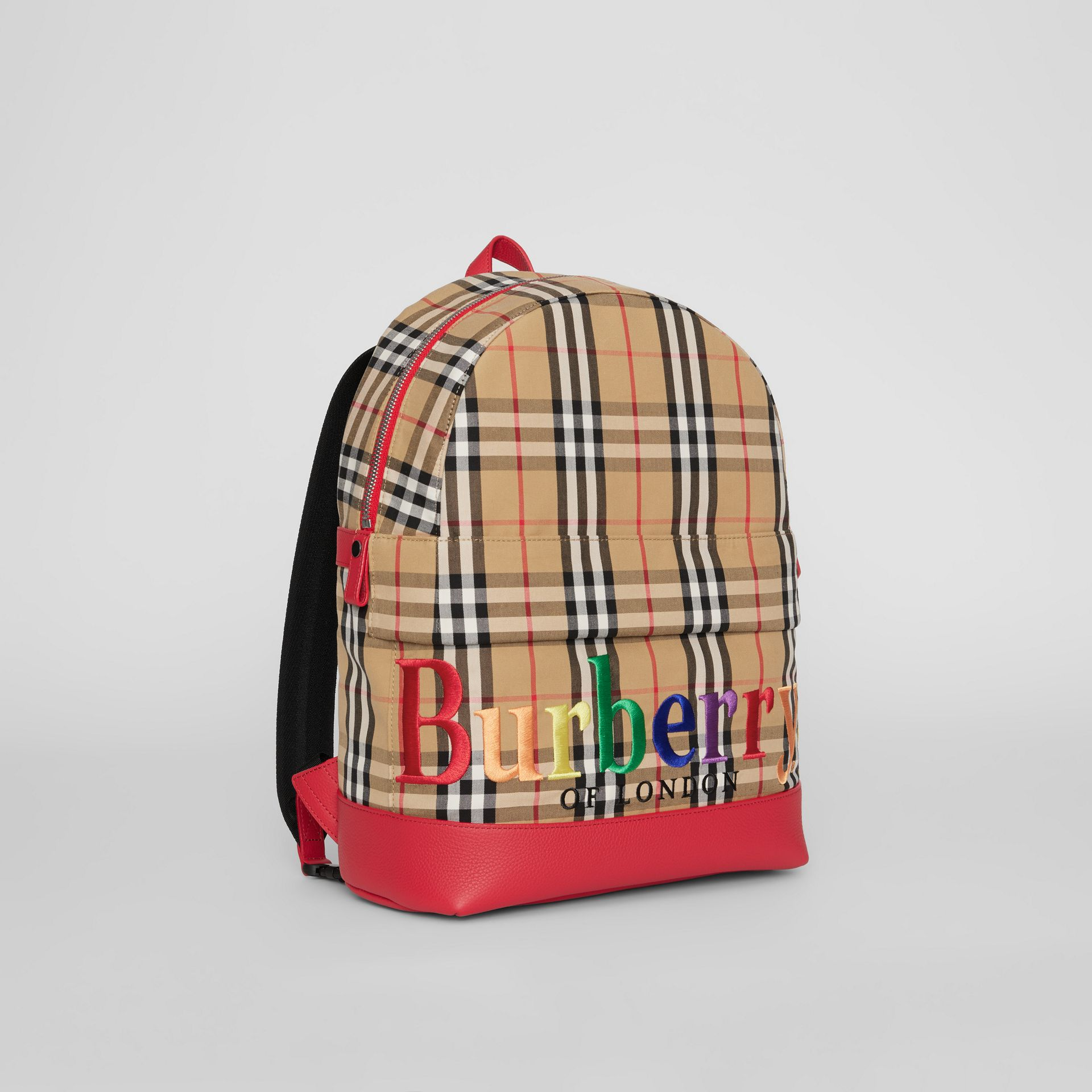 Embroidered Archive Logo Vintage Check Backpack in Antique Yellow | Burberry - gallery image 4