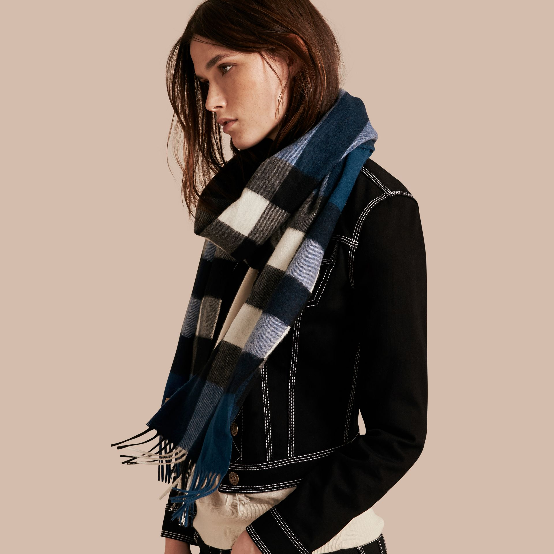 The Large Classic Cashmere Scarf in Check Marine Blue - gallery image 3