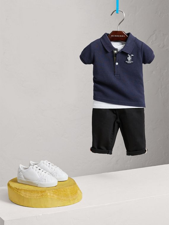 Cotton Piqué Polo Shirt in True Navy | Burberry - cell image 2
