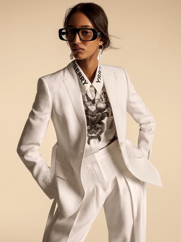Шерстяные брюки с передними складками (Снег) - Для женщин | Burberry - cell image 2