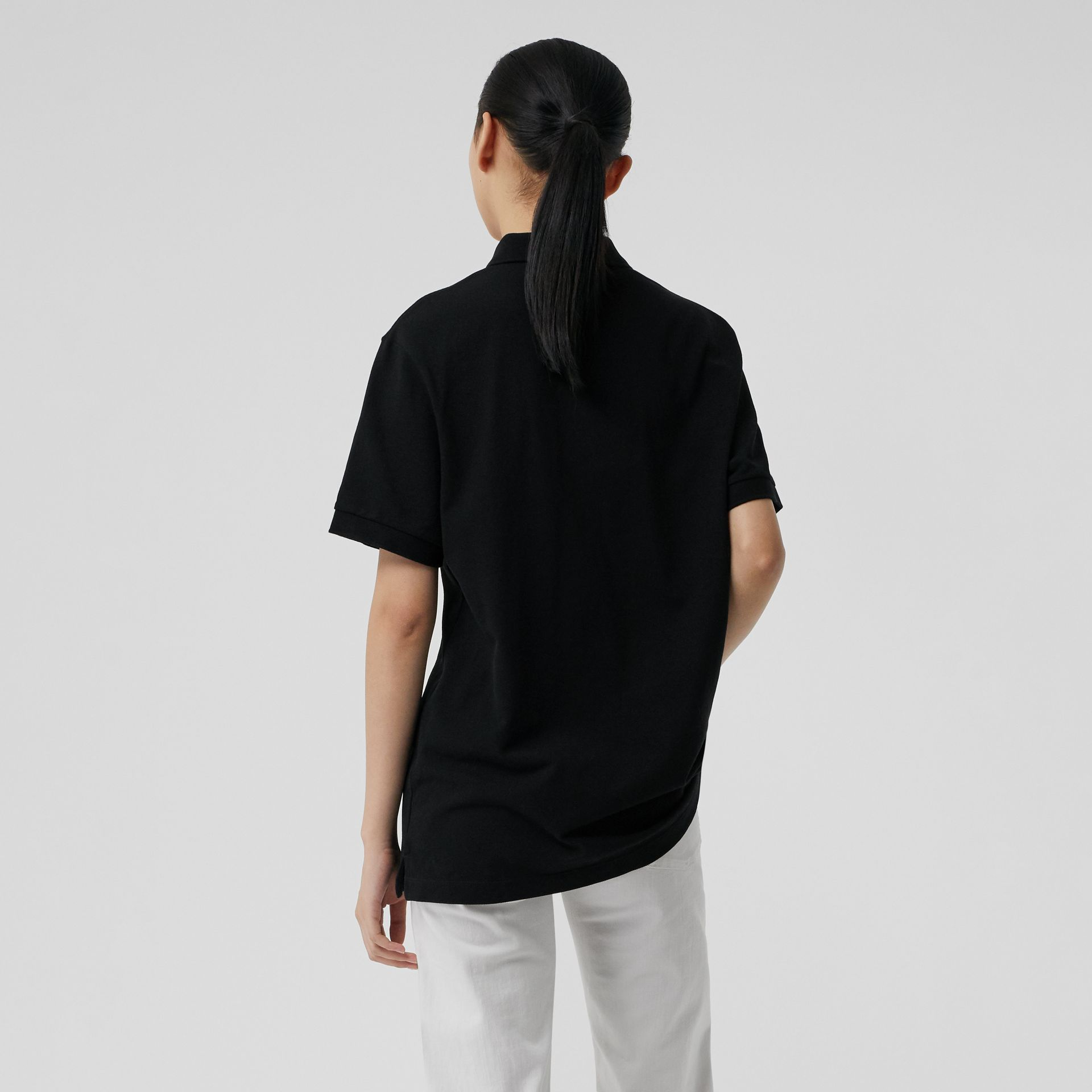Check Placket Cotton Piqué Polo Shirt in Black - Women | Burberry - gallery image 2