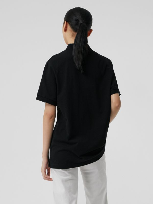 Check Placket Cotton Piqué Polo Shirt in Black - Women | Burberry Canada - cell image 2