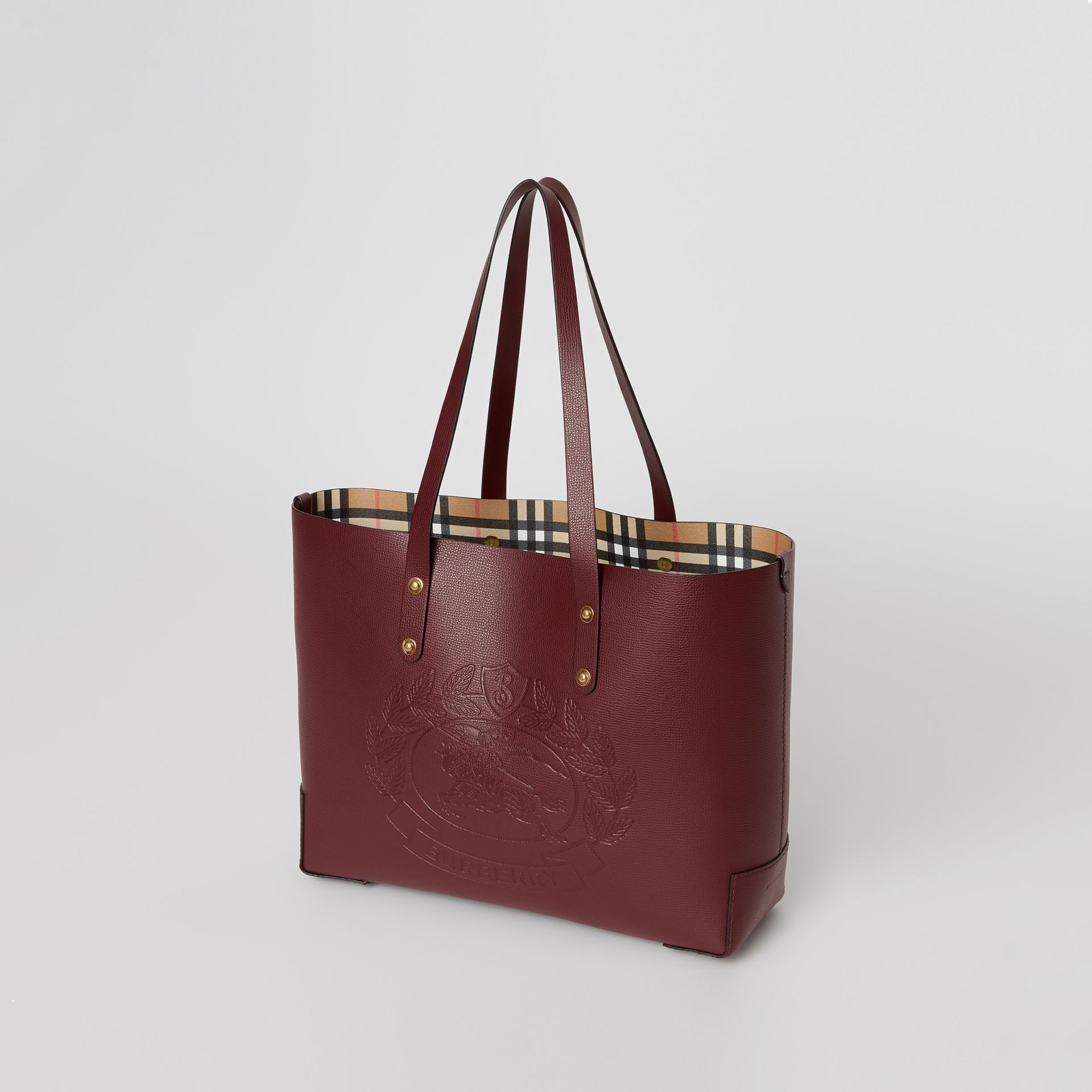 Small Embossed Crest Leather Tote in Burgundy | Burberry Australia - gallery image 5