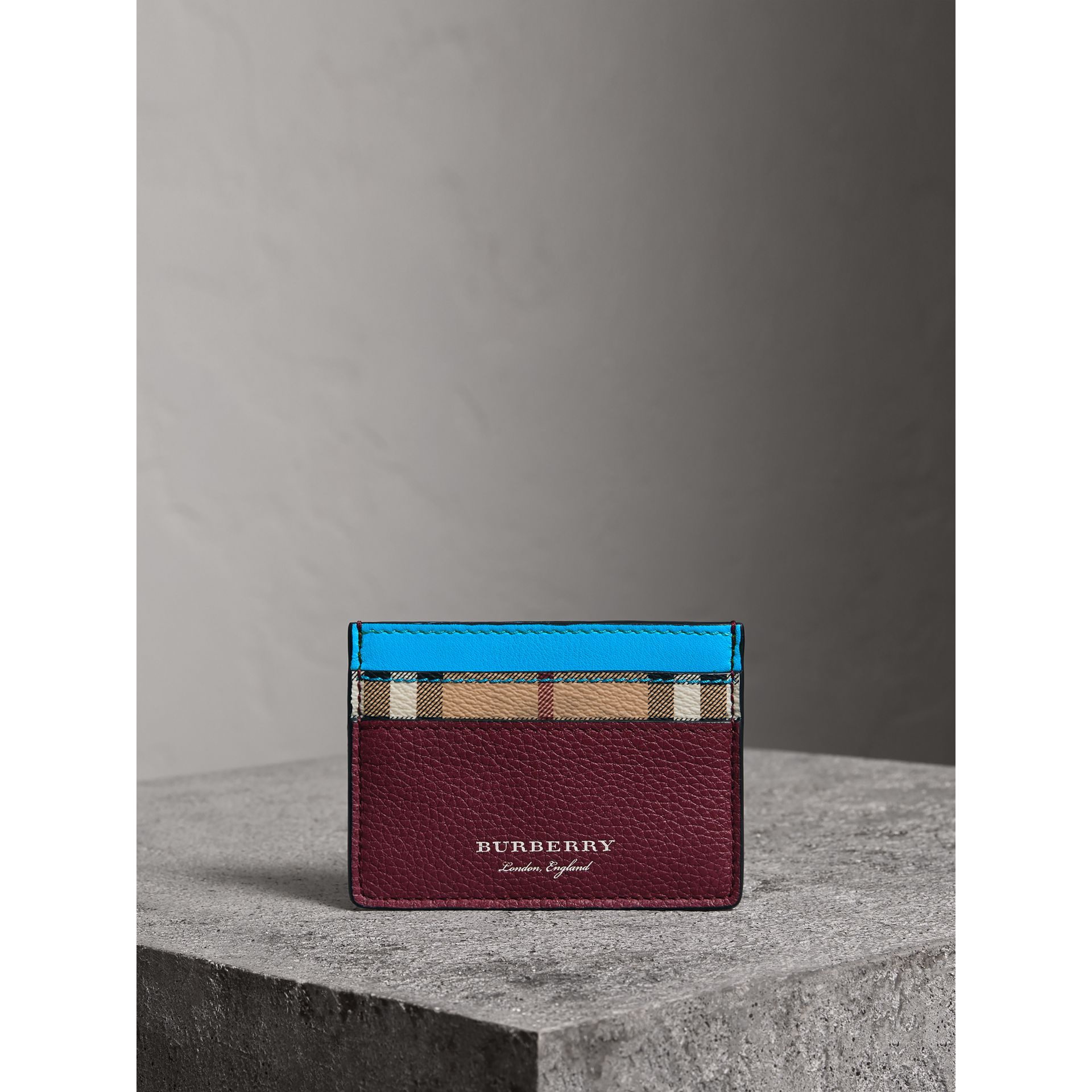 Haymarket Check and Two-tone Leather Card Case in Bright Blue - Men | Burberry United Kingdom - gallery image 3