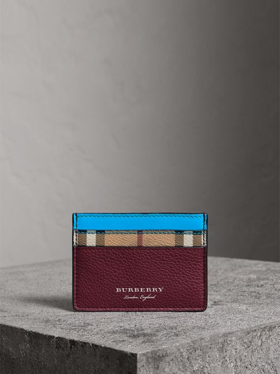 Haymarket Check and Two-tone Leather Card Case in Bright Blue - Men | Burberry - cell image 3