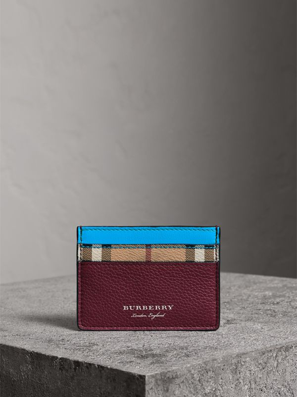Haymarket Check and Two-tone Leather Card Case in Bright Blue | Burberry - cell image 3