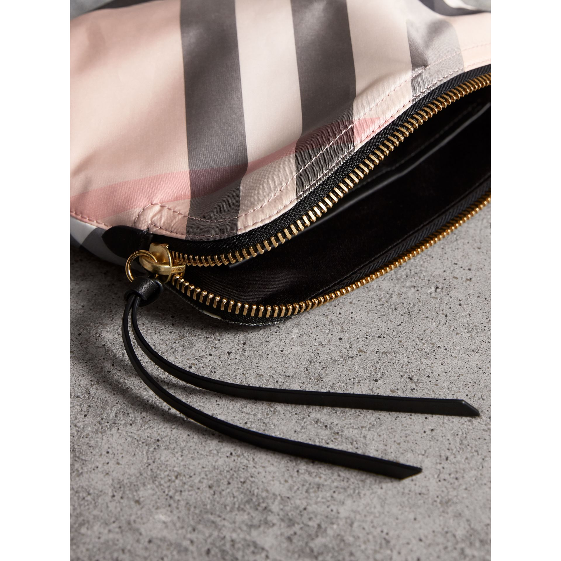 Large Zip-top Check Pouch in Ash Rose - Women | Burberry - gallery image 4