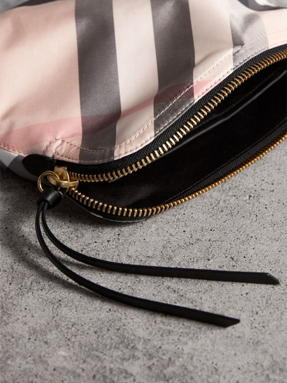 Large Zip-top Check Pouch in Ash Rose - Women | Burberry - cell image 3