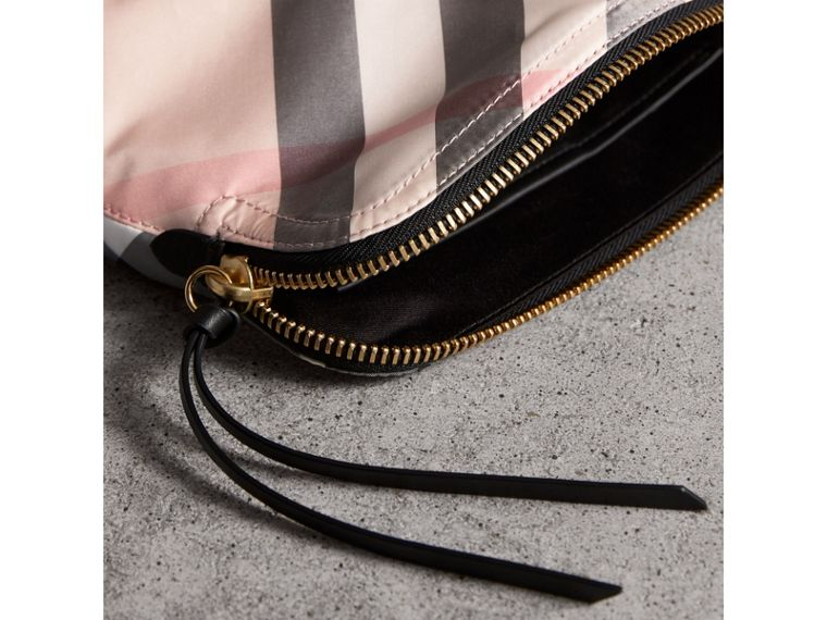 Large Zip-top Check Pouch in Ash Rose - Women | Burberry - cell image 4