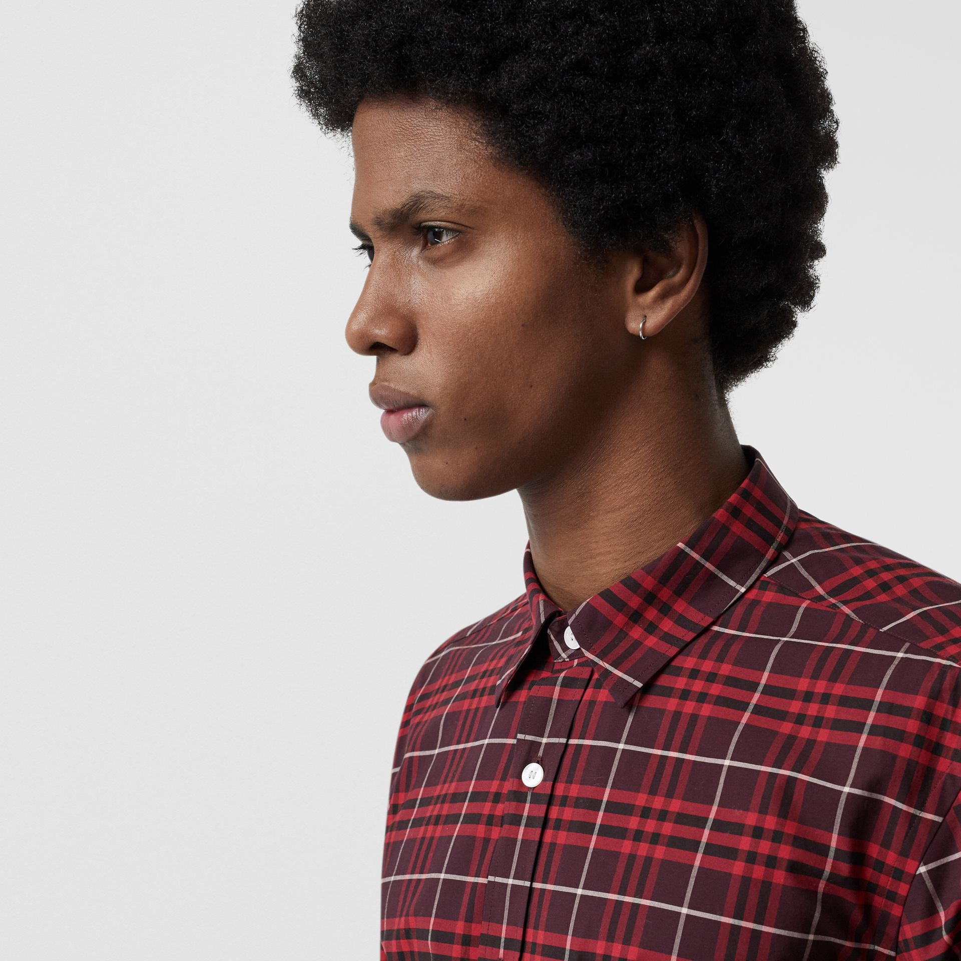 Check Stretch Cotton Shirt in Maroon - Men | Burberry Canada - gallery image 1