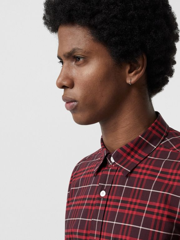 Check Stretch Cotton Shirt in Maroon - Men | Burberry Australia - cell image 1