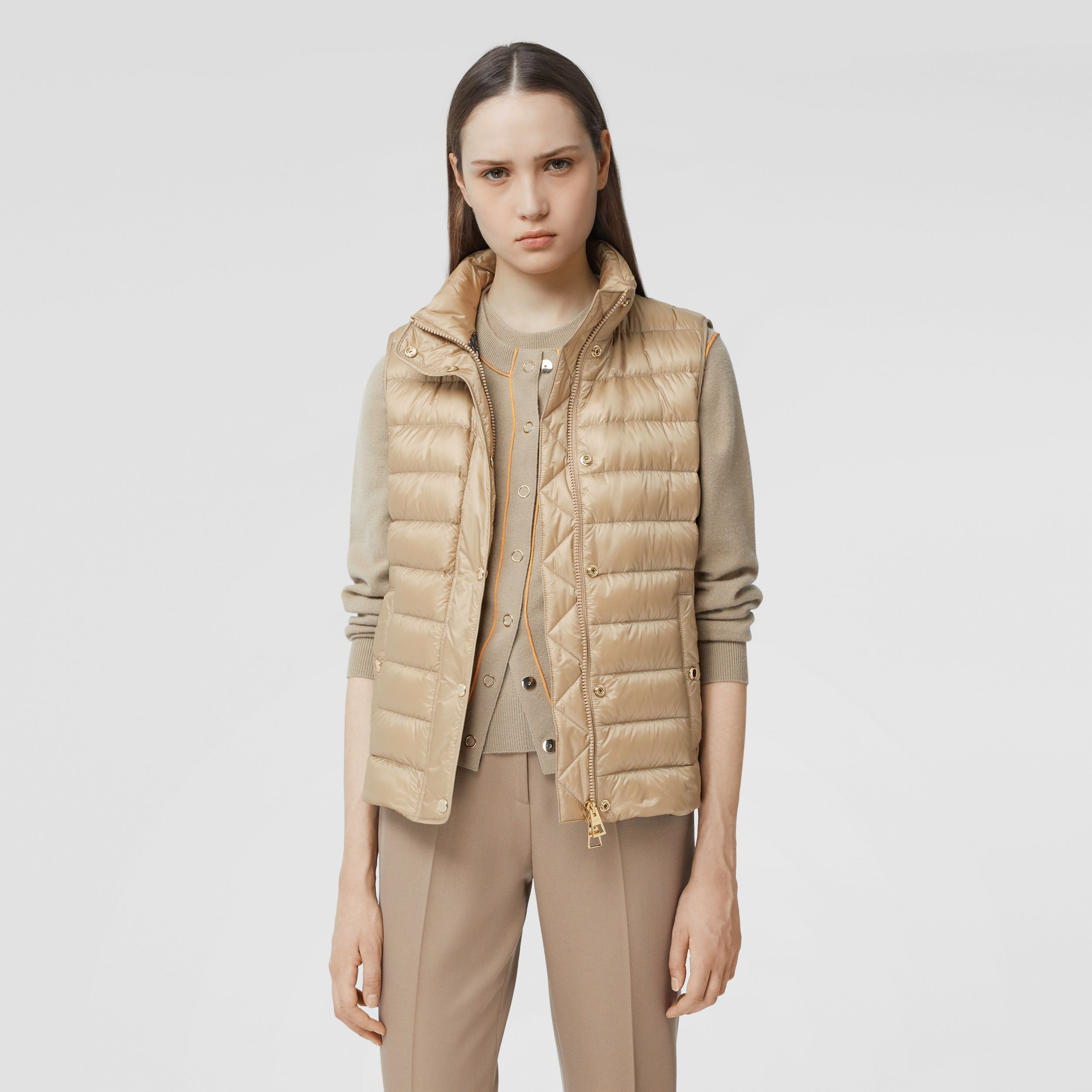 Monogram Print-lined Lightweight Puffer Gilet in Honey - Women | Burberry - 1