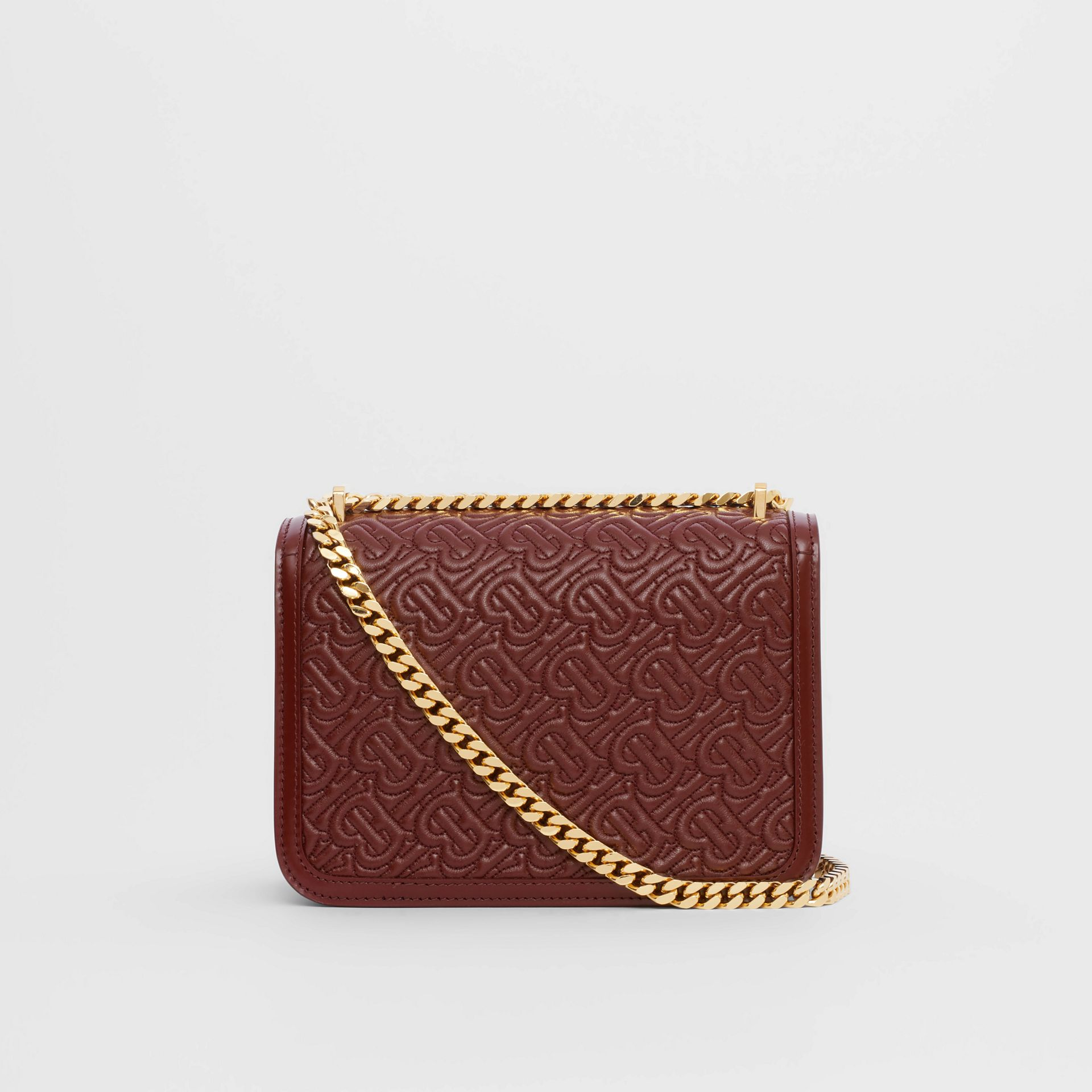 Small Quilted Monogram Lambskin TB Bag in Oxblood - Women | Burberry United Kingdom - gallery image 5