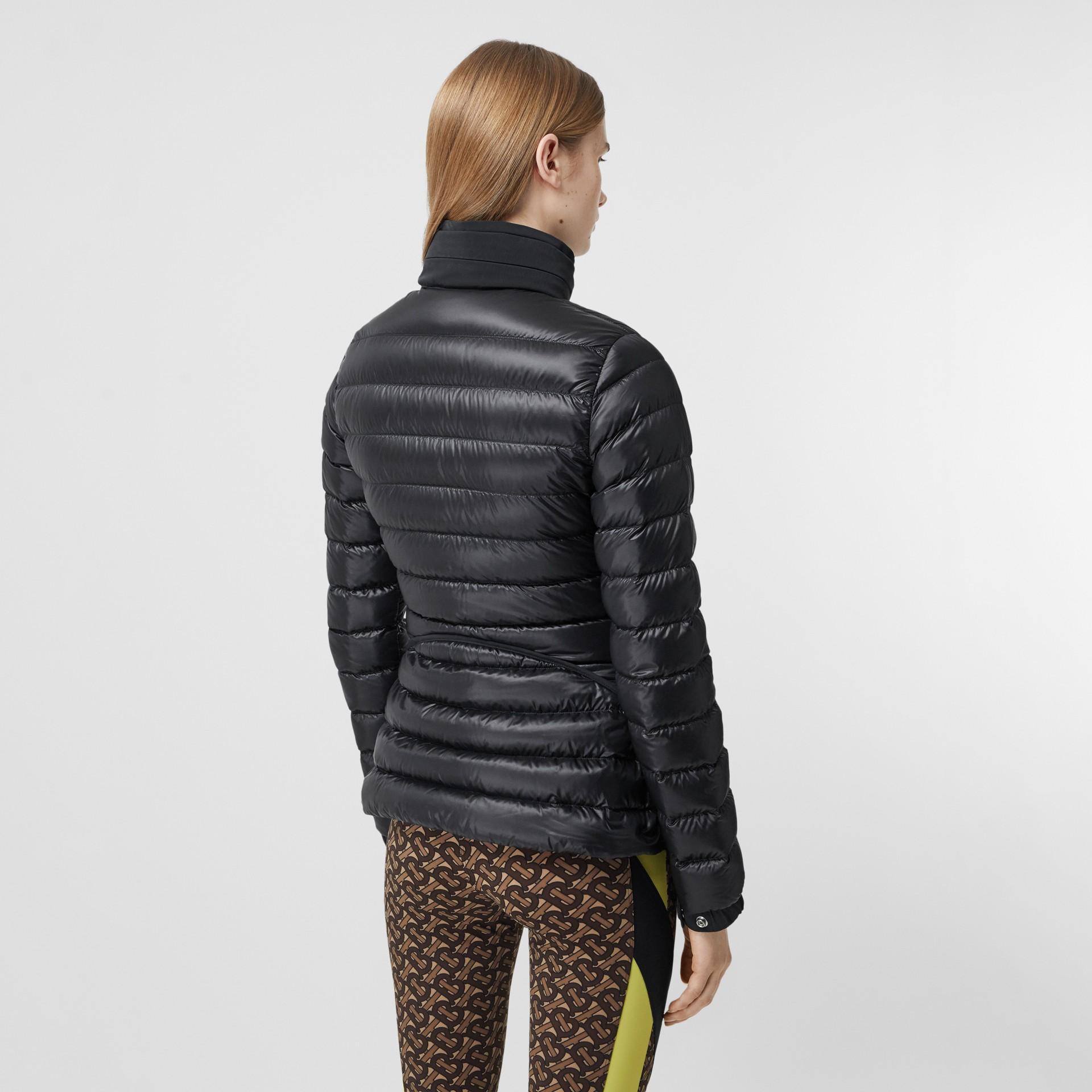 Packaway Hood Peplum Puffer Jacket in Black - Women   Burberry United Kingdom - gallery image 2